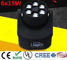 LED  Mini Bee Eye Led Moving Head Light Beam Effect 6x15W  RGBW 4IN1 LED Lamp 11/14CH  new 6x15w led bee eyes moving head rgbw 4in1 stage light dj euiqpment 11 14 dmx channels mini led moving head beam light