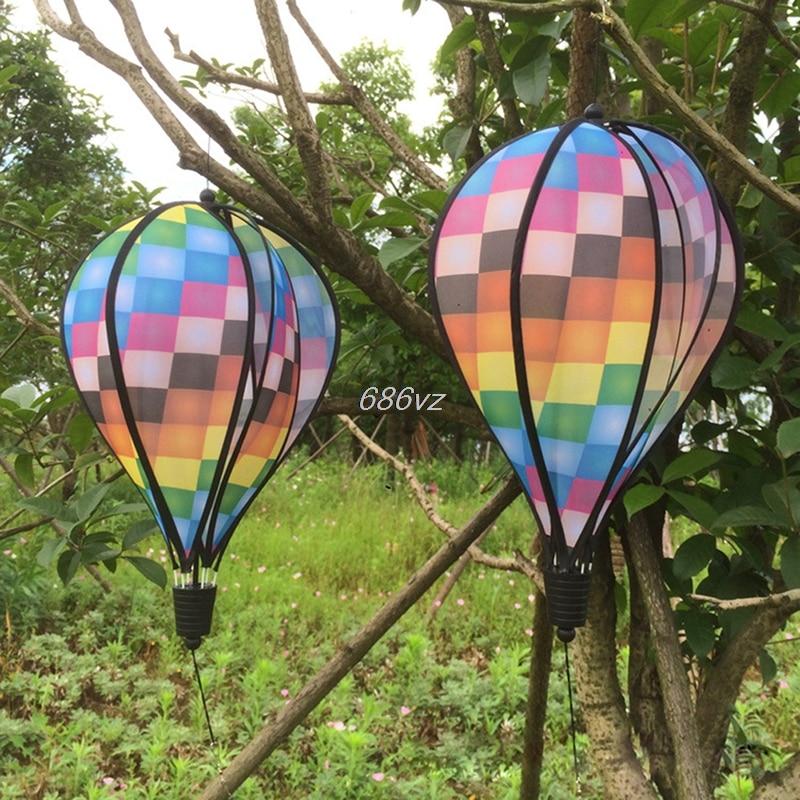 Colorful Grid Windsock Hot Air Balloon Wind Spinner Garden Yard Outdoor Decor N24 Drop Ship
