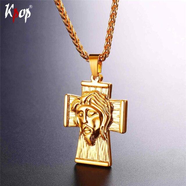 7e122ba801ab9 Kpop En Acier Inoxydable Or Noir Couleur Jésus Large Croix Pendentifs Pour  Femmes Hommes Christian