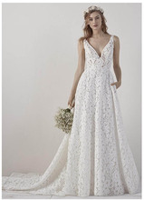 Elegant Lace Ivory Wedding Dress Backless Simple A Line Bridal Dress Long Train V Neck Sexy Romantic Floor Length Wedding Gowns simple v neck lace a line wedding dress