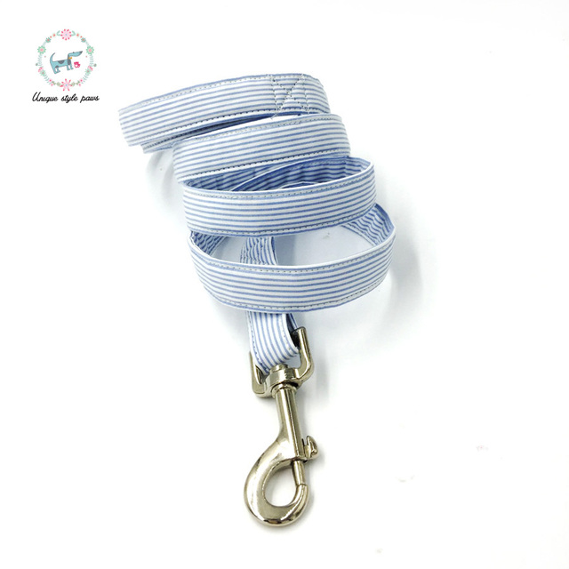 Blue striped Collar set with Leash and Bow Tie 1