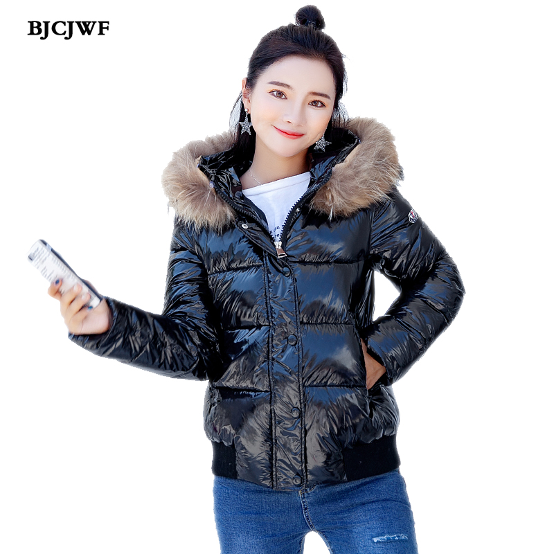 BJCJWF winter jacket women cotton Hood padded basic Short coat Women warm   Parka   Fur collar casual outerwear casaco feminino 2018
