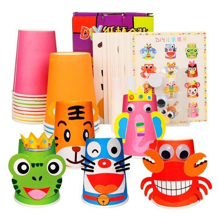 12 pçs crianças 3d diy copos de papel artesanal adesivo material kit conjunto inteiro crianças jardim de infância escola arte artesanato brinquedos educativos gyh