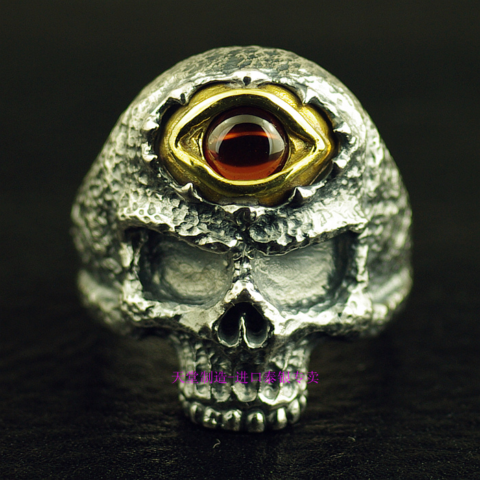 Thailand imports, retro 925 sterling silver ring skeleton Silver Eye thailand imports skull blood new skeleton silver ring