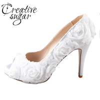 Handmade Ivory White Rose Flower Bridal Shoes Hand Sewn Flowers Wedding Party Prom Pumps Open Peep