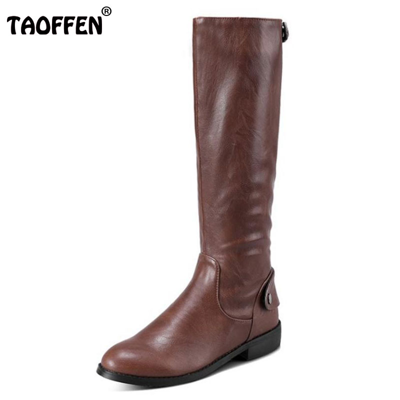 TAOFFEN Size 34-43 Women Mid Calf Flats Boots Zipper Rivet Half Short Boots With Fur Shoes For Cold Winter Botas Women Footwears taoffen women genuine leather flats snow boots women metal buckle mid calf boots warm fur shoes for women footwears size 34 39