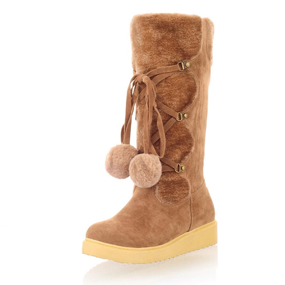 Sarairis Llegada Mujer negro Invierno 34 Botas Grande Ternero Añadir De Caliente amarillo Venta Nueva Mediados La Zapatos Beige 43 Tamaño Piel AA5frq