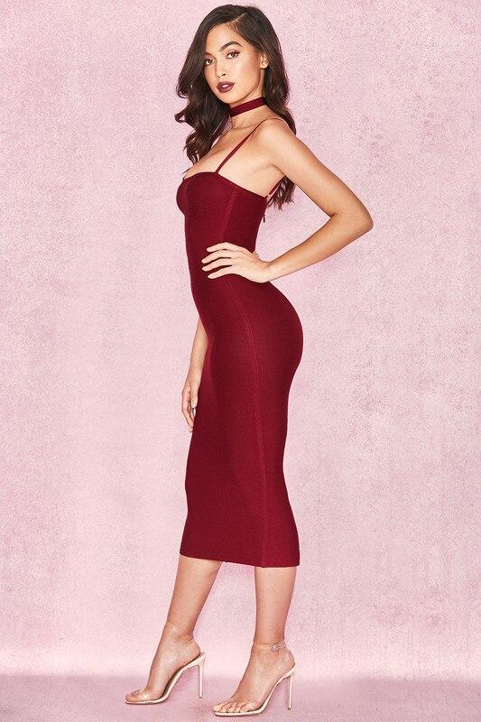 Belle robe sangle vin rouge sangle mi-mollet Slim rayonne Bandage robe robe de soirée