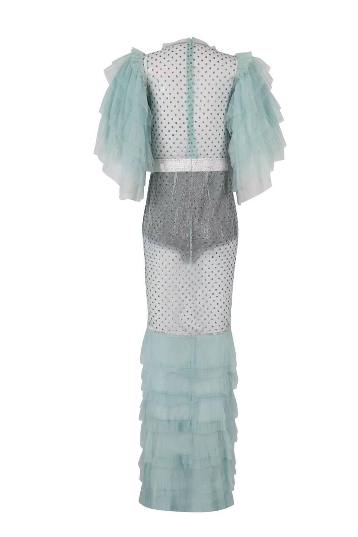Con 18604 O Cuerpo Través Ver Al Vestido Por cuello Mujeres Venta Mayor Sexy Encaje Malla Diamantes Vestidos Moda Menta a Fiesta Noche Celebridad De TTdrq