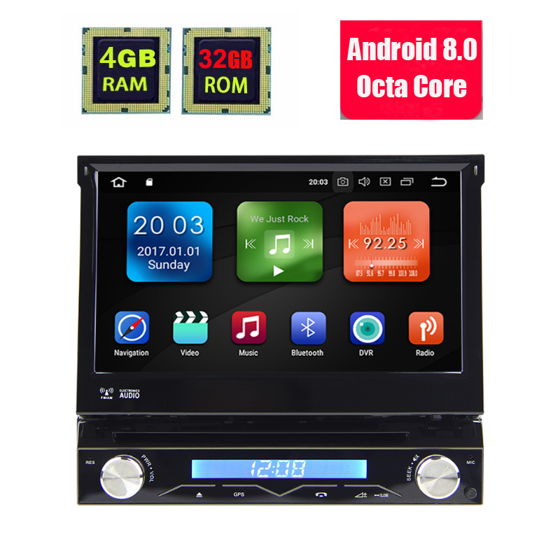 4G RAM 1 Din Android 8.0 Octa 8 Core Car DVD Player For Universal GPS Navigation Stereo Radio WIFI MP3 Audio USB SWC Radio image