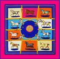 100*100  MTscarf 100% Twill Silk  Brand French design Ten Horse Pattern Printed Women Gift Silk Scarves