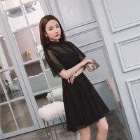 Sexy Modern chinese Style Dress Qipao Lace mesh 2019 summer Vintage Modified Cheongsam Dress Black shanghai tang
