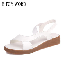 E TOY WORD Women Sandals 2019 Platform Ladies Summer shoes Comfortable Black White wedge Sandals Peep Toe Women Beach Shoes white peep toe buckles wedge sandals