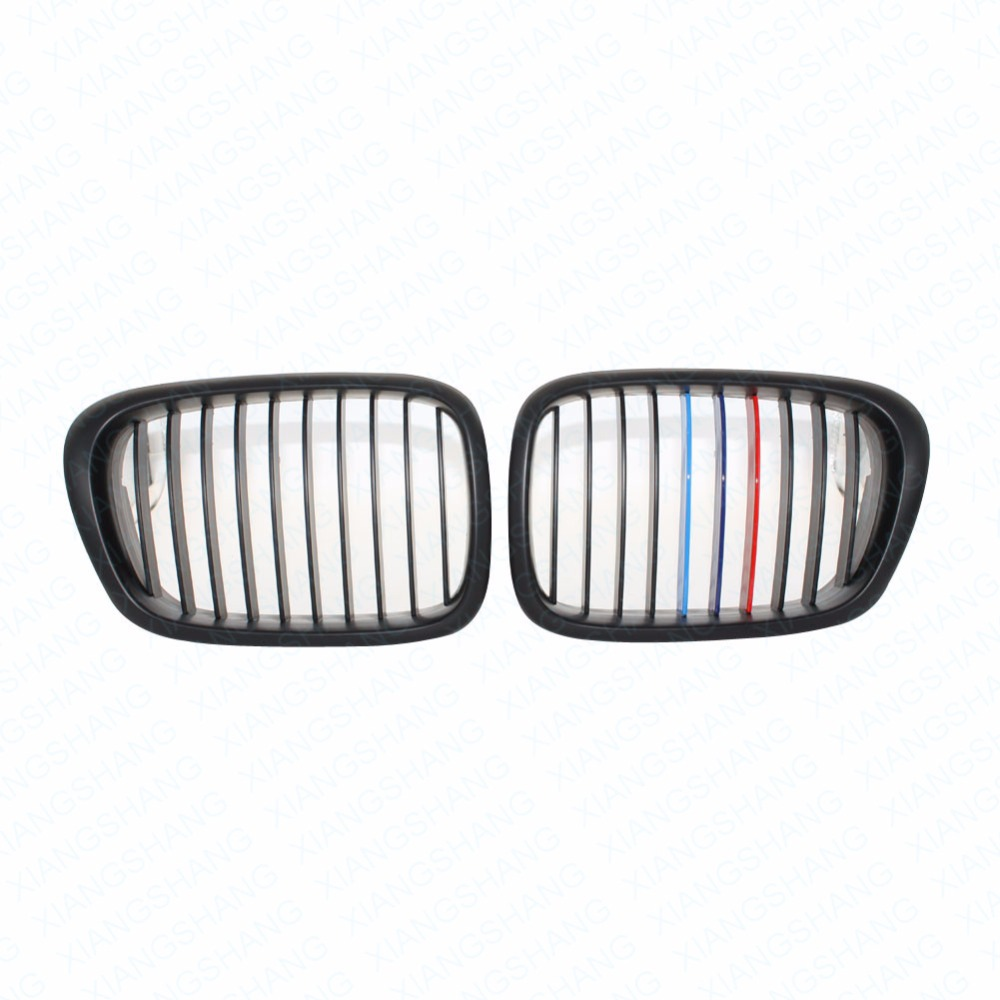 2x Car Style Matt Black Auto Front Kidney Grille Grill Racing Grilles for BMW 5 Series E39 Touring 1997-2004 Car Accessoires