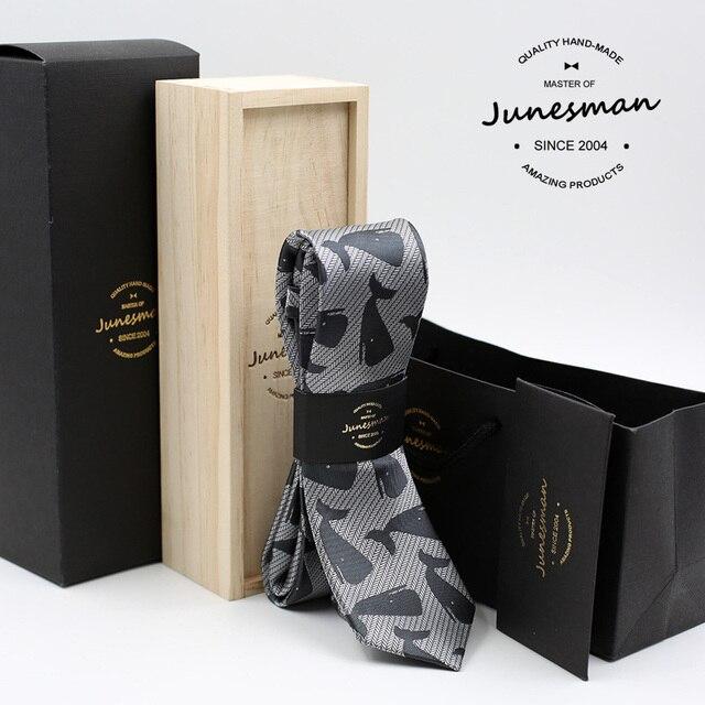 2016 new gray print formal business necktie men fashion kravat male wedding neckwear gent mariage neck tie husband gift with box