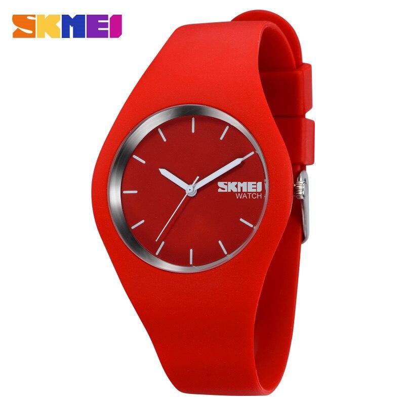 SKMEI Modern Fashion Women Watches Simple Quartz Watch Silicone Strap 3Bar Waterproof Sport Wristwatches Reloj Mujer Clock 9068