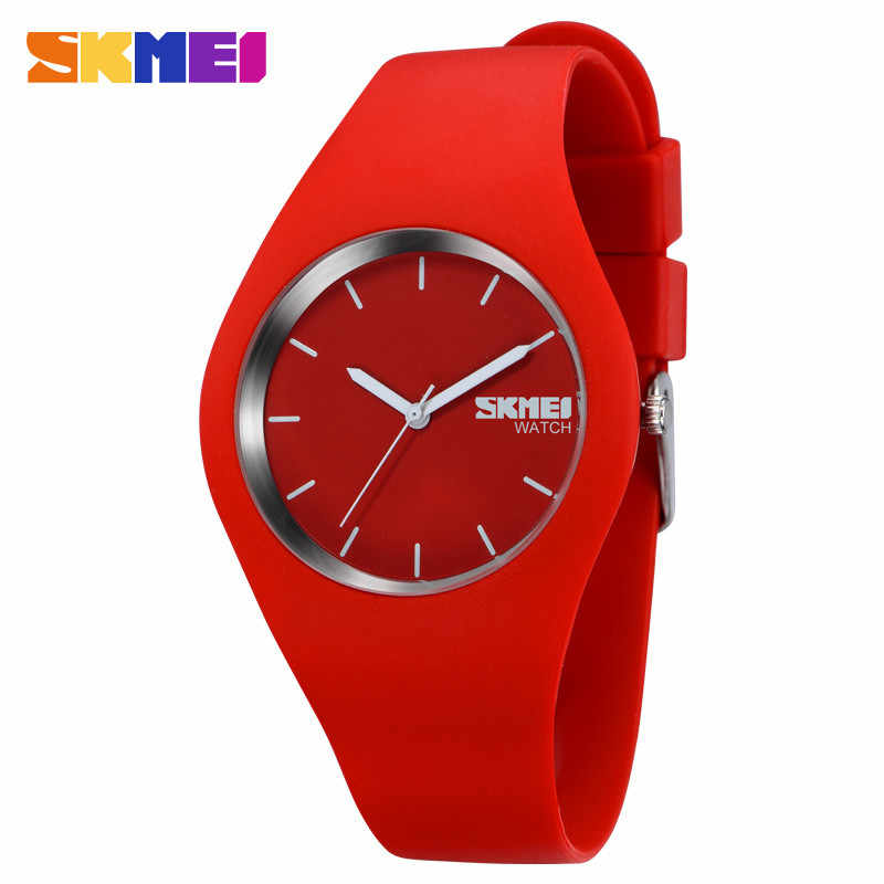 SKMEI Modern Fashion Women Watches Simple Quartz Watch Silicone Strap 3Bar Waterproof Sport Wristwatches Reloj Mujer Clock 9068