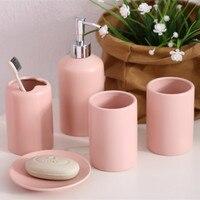5 Pcs Solid Ceramic Porcelain Bathroom Accessories Set Toothbrush Holder Tumblers Soap Dish Dispenser Eco Friendly Toilet Kit