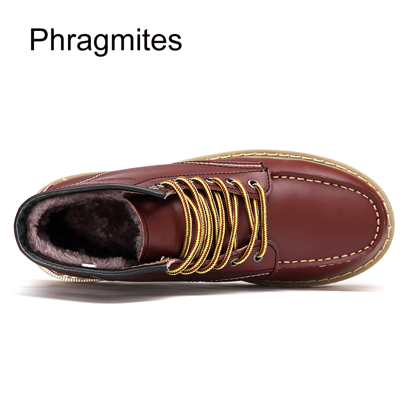 Phragmites Genuine Leather Martin Boots European Fashion Student Outside Snow Shoes Boots Winter Fur Men Shoes Botines Mujer in Oxfords from Shoes