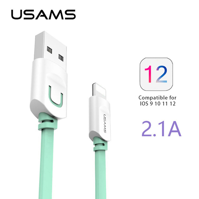 for iphone cable ios 12 11 10 usams 2 1a fast charging 0 25m 1m 1 5m