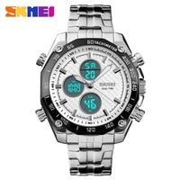 Mens 30M Waterproof Sport Watch Men Stainless Steel Analog Digital LED Watches Dual Time Clock Relogio Masculino SKMEI 2018