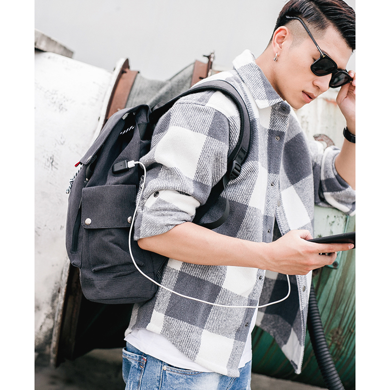 MLITDIS Canvas Men Backpack Cool 2017 High School Bags For Teenage Book Bag Boys girls USB Schoolbag Male Back pack Laptop Women