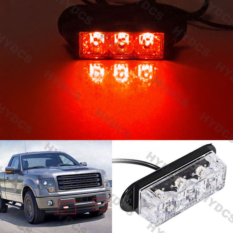 CYAN SOIL BAY 1pc High Power 3 LED Grill Car Truck Emergency Hazard Warning Beacon Strobe Flash Light Bar Red Waterproof 4x 4 led car flash truck emergency beacon light bar hazard strobe warning amber white blue red