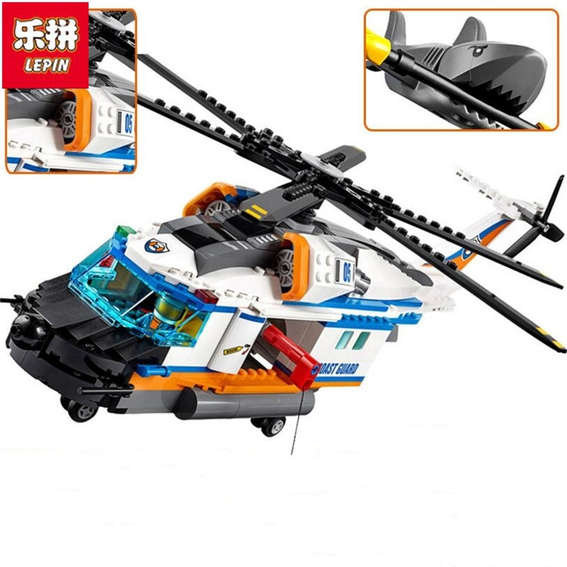 Lepin 60166 City Series Heavy Rescue Helicopter Building Blocks Brick Toy DIY Educational Christmas Toys For Children 02068 superwit 72pcs big size city diy creative building blocks brick compatible with duplo sets lepin educational toys children gifts