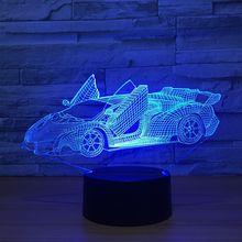 Lampa 3D Samochód Lamborghini Aventador Illusion 7-Kolorów LED USB