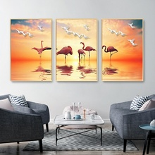 Nordic Poster Minimalist Sunset Beauty Flamingo Canvas Painting Modern Home Living Room Decoration Wall Art Pictures No Frame