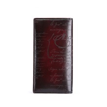 TERSE_Luxury mens long wallet handmade leather male purse with engraving genuine leather business card wallet custom logo