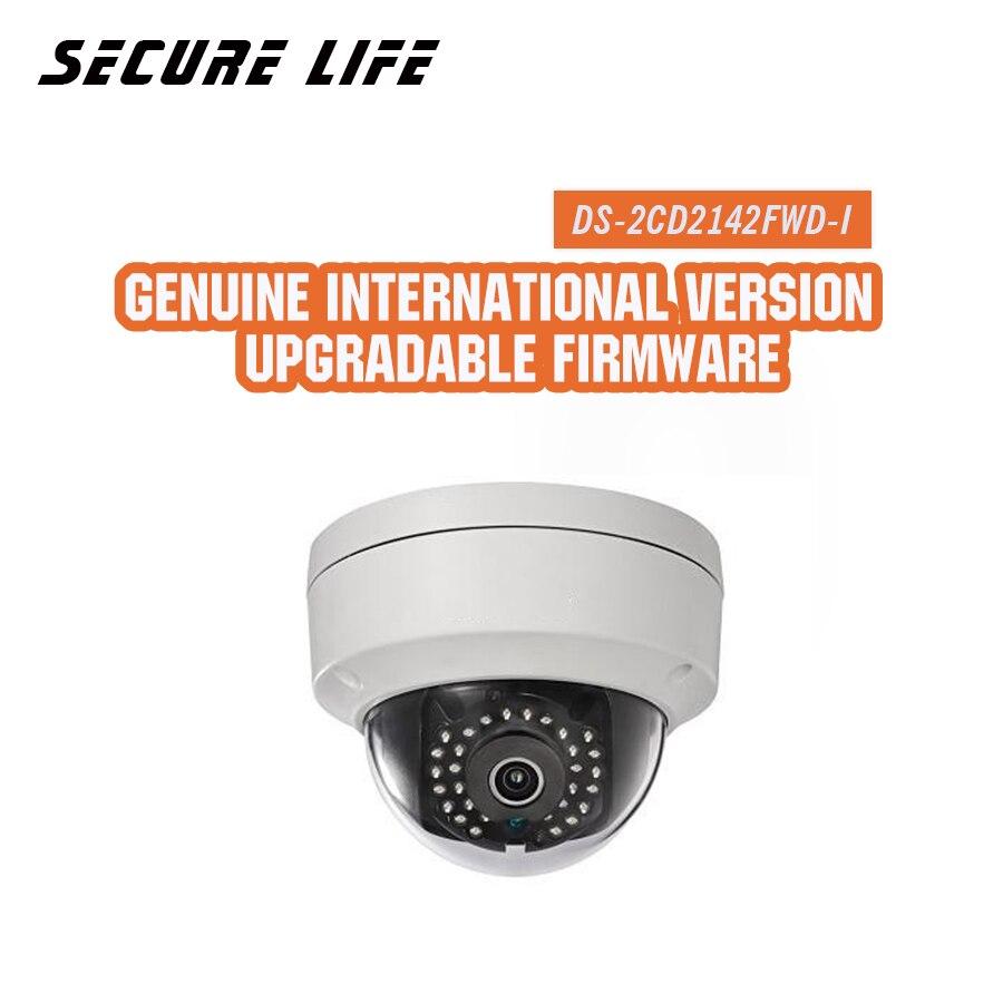 Em estoque versão Inglês DS-2CD2142FWD-I 4MP mini rede dome cctv camera, 120dB P2P 1080p câmera IP POE WDR