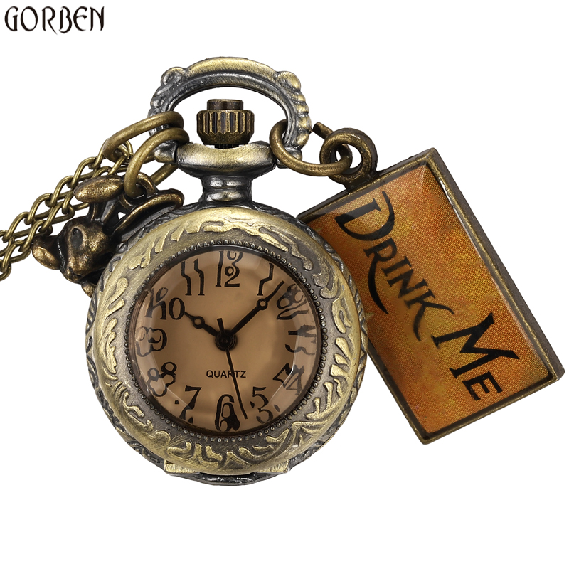 Cute Design Drink Me Small Watch Alice In Wonderland Small Size Round Dial Pocket Watch Necklace Chain Women Mens Ladies Gifts