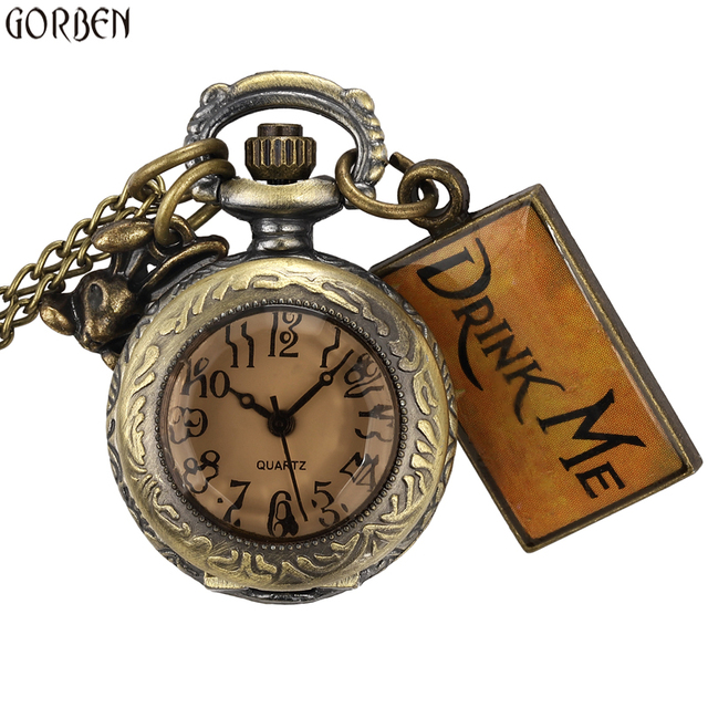 Cute Design Drink Me Small Watch Alice In Wonderland Small Size Round Dial Pocke