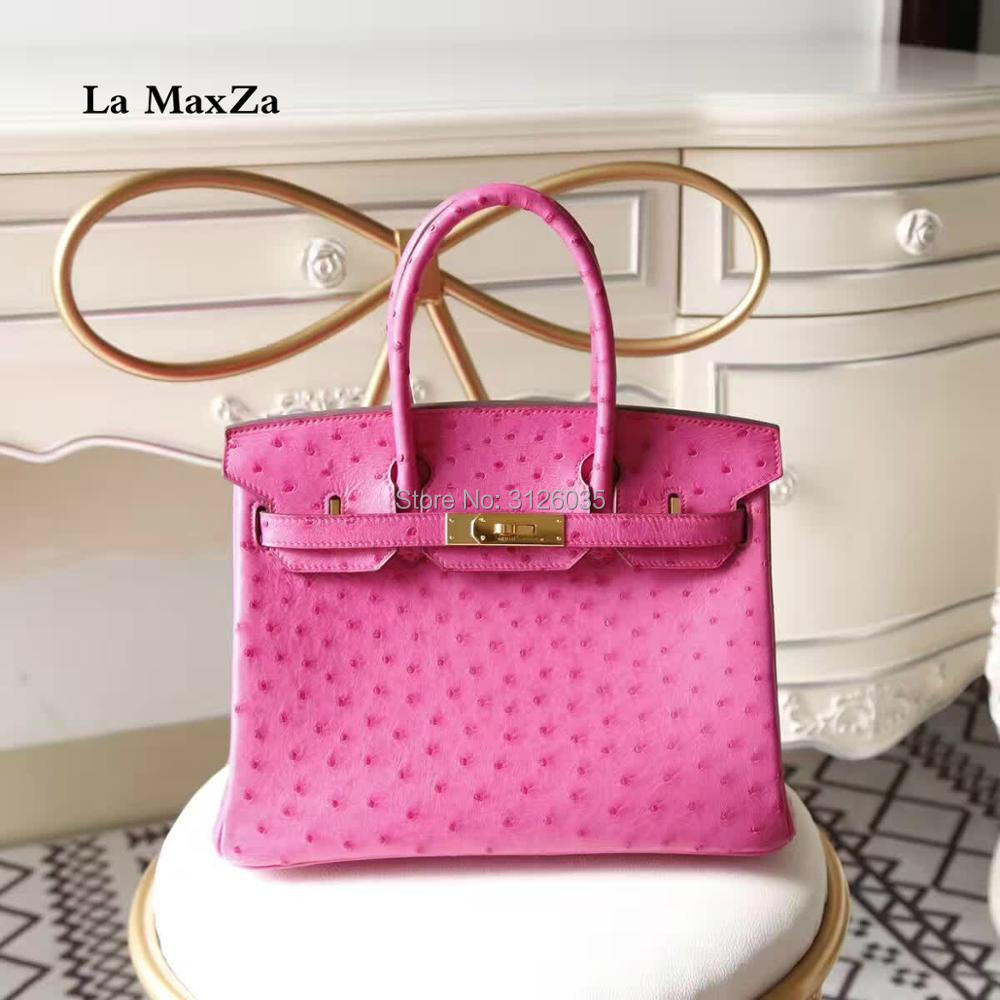 2017 women luxury brand runway ostrich skin font b handbags b font CL702160