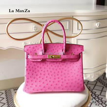2017 women luxury brand runway ostrich skin handbags CL702160