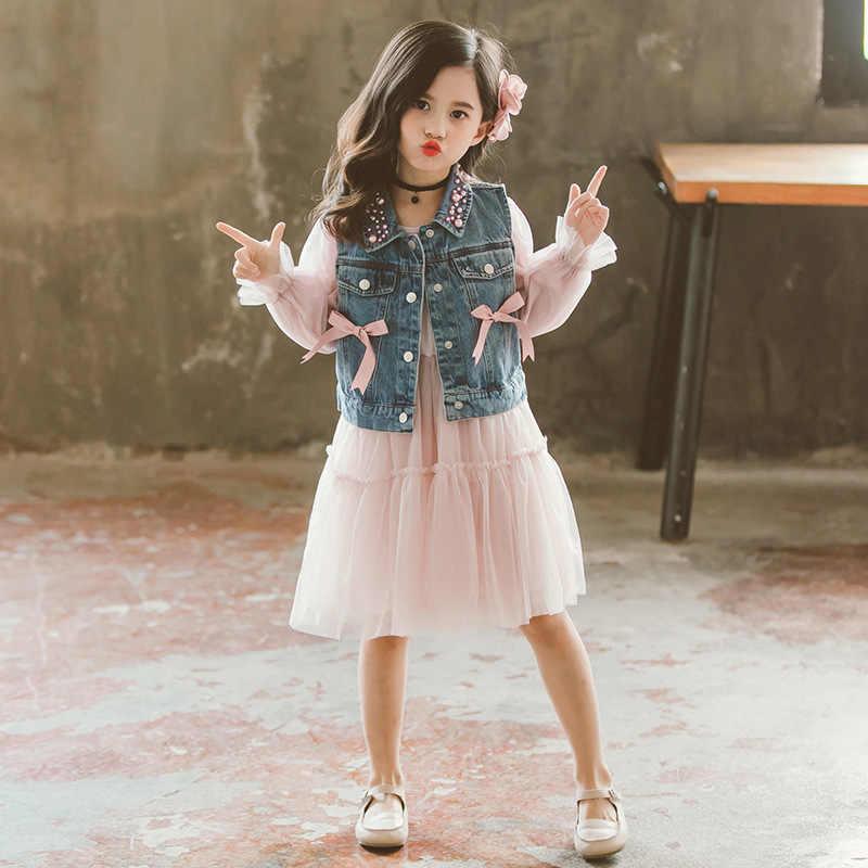 072df6155 Nuevos conjuntos de ropa para niñas pequeñas 2019 ropa de primavera para  niños Top Chaleco de mezclilla de pera + vestido para niñas conjunto de ...