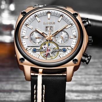 Relogio Masculino LIGE Top Brand Luxury Automatic Mechanical Watch Male Leather Waterproof Sport Watch Men Business Wristwatch