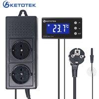 Ketotek KT4000 Digital Thermostat Temperature Controller Waterproof Sensor US EU Plug Outlet LCD 2 Stage Heating Cooling Mode
