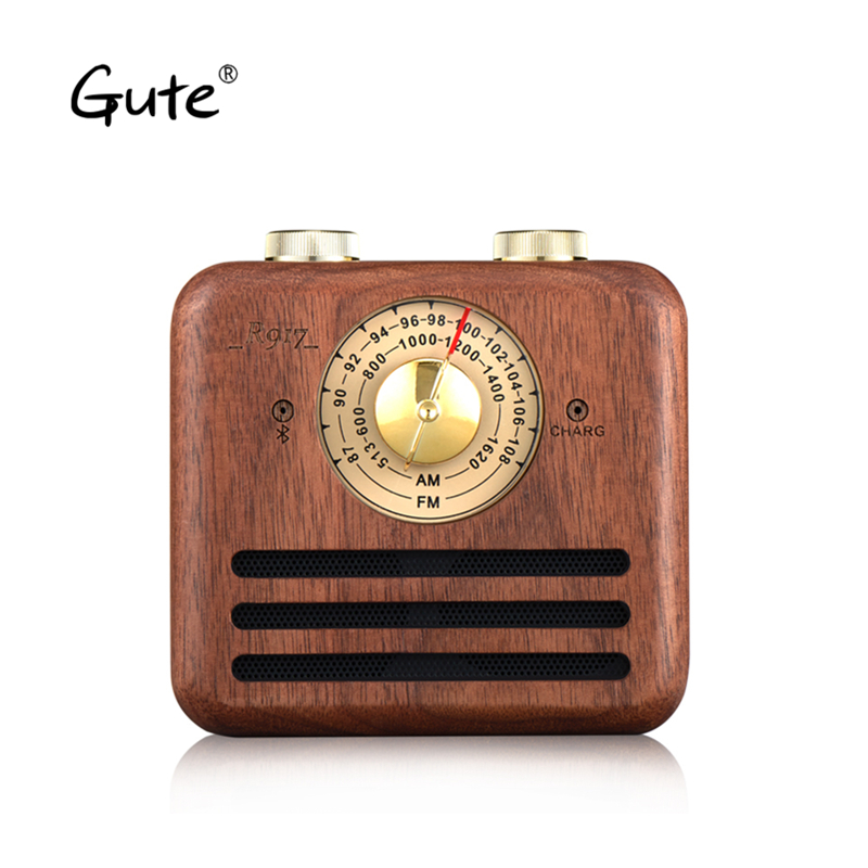 Gute Retro wood Mini <font><b>Bluetooth</b></font> Speaker am fm radio antenna portable receiver dab radio <font><b>radyo</b></font> aged Elderly portatil caixa de som