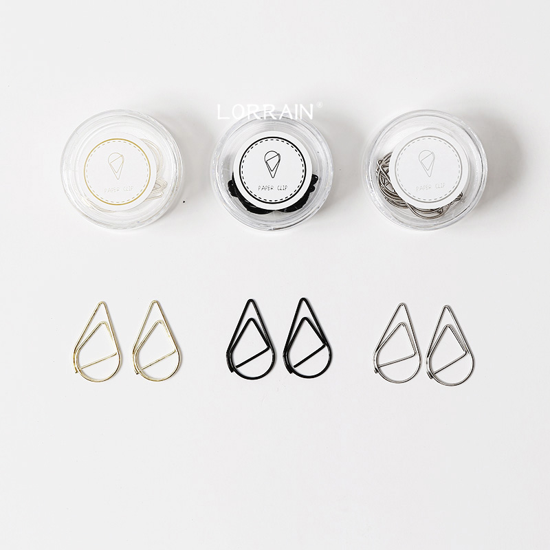 Water Drop Metal Color Clip Paper Clip Bookmark Office Tools Packaging Box Office Accessories Gold Silver Black Cute Paper Clips