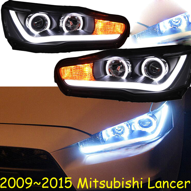 Car Styling Head Lamp for Lancer Headlights Lancer EX Headlight 2008~2015year taillight DRL H7 D2H Hid Angel Eye Bi Xenon Beam