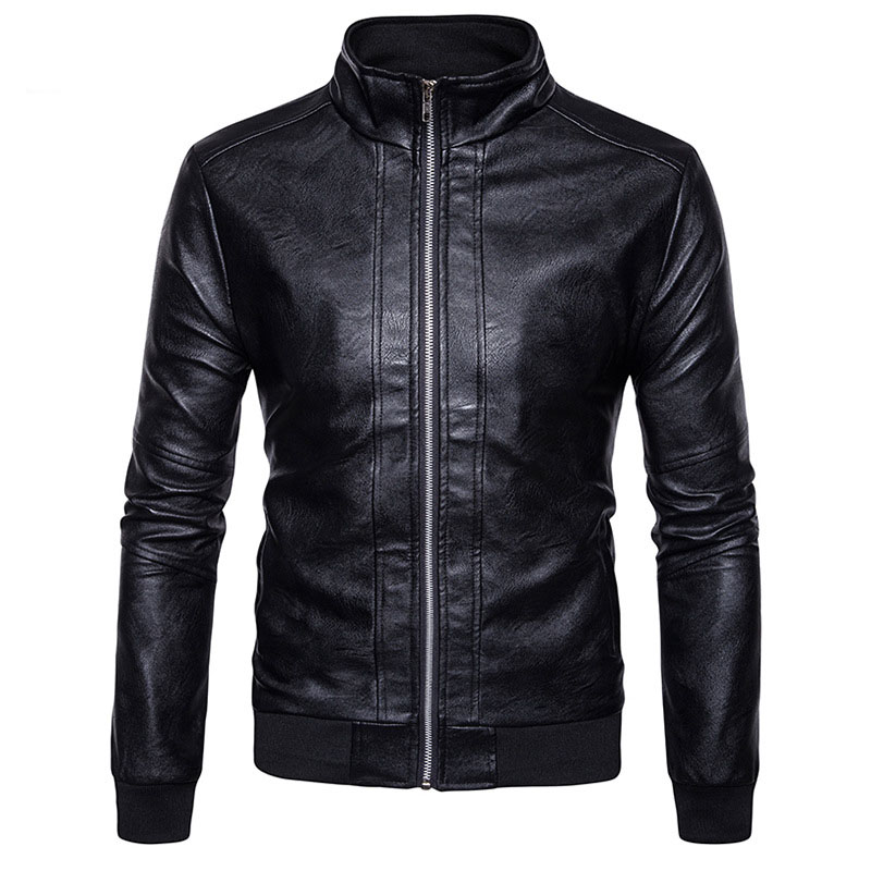 Motorcycle Leather Jacket Veste Cuir Homme 2017 Casual Stand Collar Men's Autumn Winter Leather Jacket Zipper PU Leather Jackets