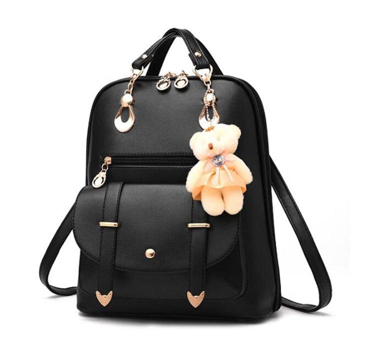 HTB1WBjFDeuSBuNjy1Xcq6AYjFXag Preppy Style Women Backpack Bear Toys PU Leather Schoolbags for Teenage Girls Female Rucksack Shoulder Bag Travel Knapsack