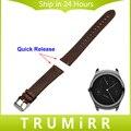 20mm 22mm Correa de Reloj de Cuero Genuino Correa de Liberación Rápida para Ticwatch 1 46mm/Brwon Ticwatch 2 42mm de Acero Inoxidable Hebilla de Cinturón