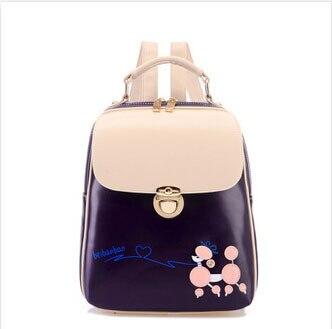 Korean Fashion Contrast Color Small Dog Design Leather Women Backpack Jordan Backpack For Female Gift