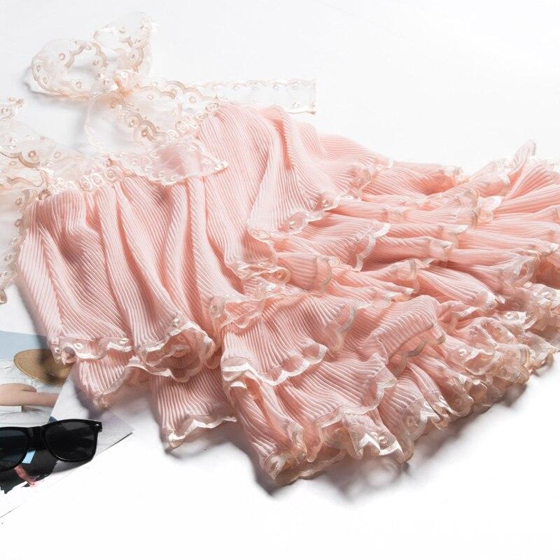 Mignon De 2017 Couches Qualité Manches Mode Robe D'été Sucrerie Femmes Sexy Haute Rose Sans En Beige Bttqr5w7O