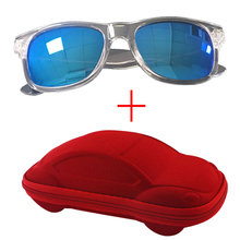 New Oval Childrens Sunglasses Case Mirror Glasses For Girl Boy Kids With Box Clear Frame Goggles UV400 Gafas de sol