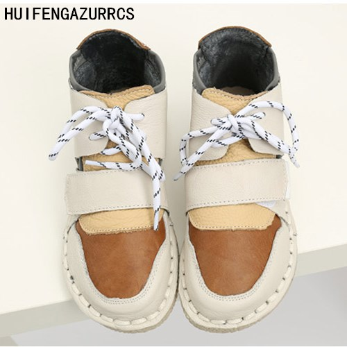 HUIFENGAZURRCS-New Pure handmade Short boots,autumn plus velvet warm boots, Korean students winter cashmere real leather shoes huifengazurrcs new pure handmade casual