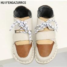 HUIFENGAZURRCS-New Pure handmade Short boots,autumn plus velvet warm boots, Korean students winter cashmere real leather shoes